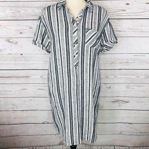 Adrienne Vittadini Dress Stripe Button Shift Tunic